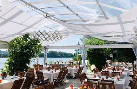 Rhine terrace with covered tables